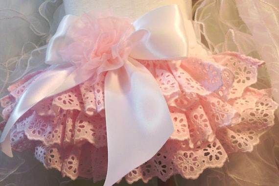 Girls Pink Ruffled Baby Bloomers Custom Heirloom Pink Newborn thru 24 mo.