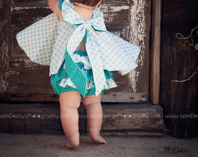 Girls Baby Toddlers Twirl Dress & Ruffled Panties Aqua ta dots 2 piece custom