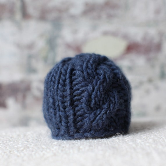 Newborn Cable Knit Hat for Photographers - Ocean