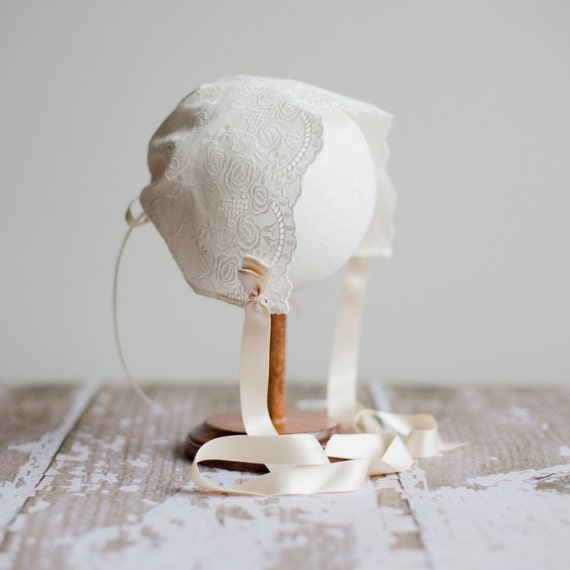 Beautiful Cotton Lace Baby Bonnet - Off-White