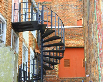 Spiral Staircase, Old Towne Section of Petersburg, Virginia--5 x 7 fine art print, signed