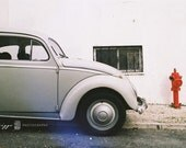 Dreamy Vintage Photography - My car was grey 8x12 grey beetle car retro red whimsical film print