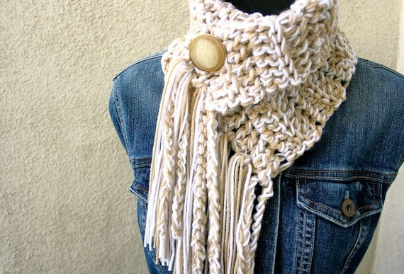 CREAM SODA  COWL - Scarf  with fringe and button