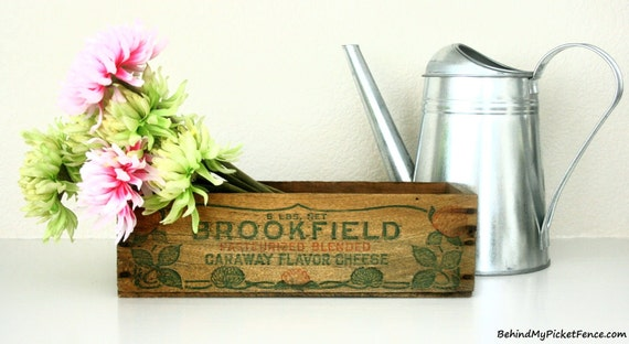 RESERVED LISTING for MADDOX26 - Vintage Wooden Cheese Box - 5 lb Vintage Wooden Brookfield American Cheese Box Crate - Shabby Chic Decor