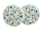 Blue Floral Cushions / Embroidered Pillows / Vintage Round Throw Pillows