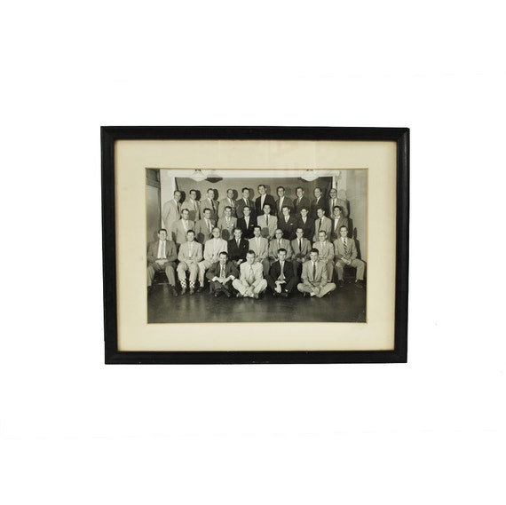Vintage Photo / Group of Men / Black and White Photograph