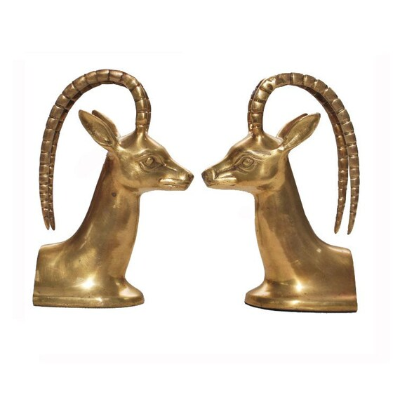 Brass Bookends / Ram's Head Bookend / Brass Collectible