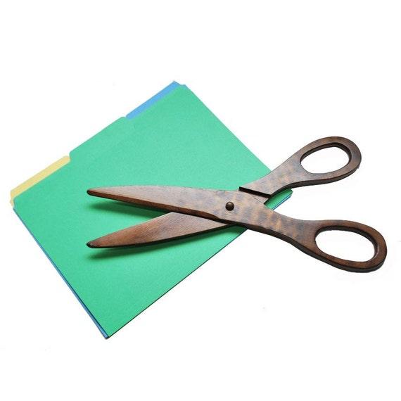 Vintage Giant Scissors / Fake Wooden Scissors / Oversized Scissors