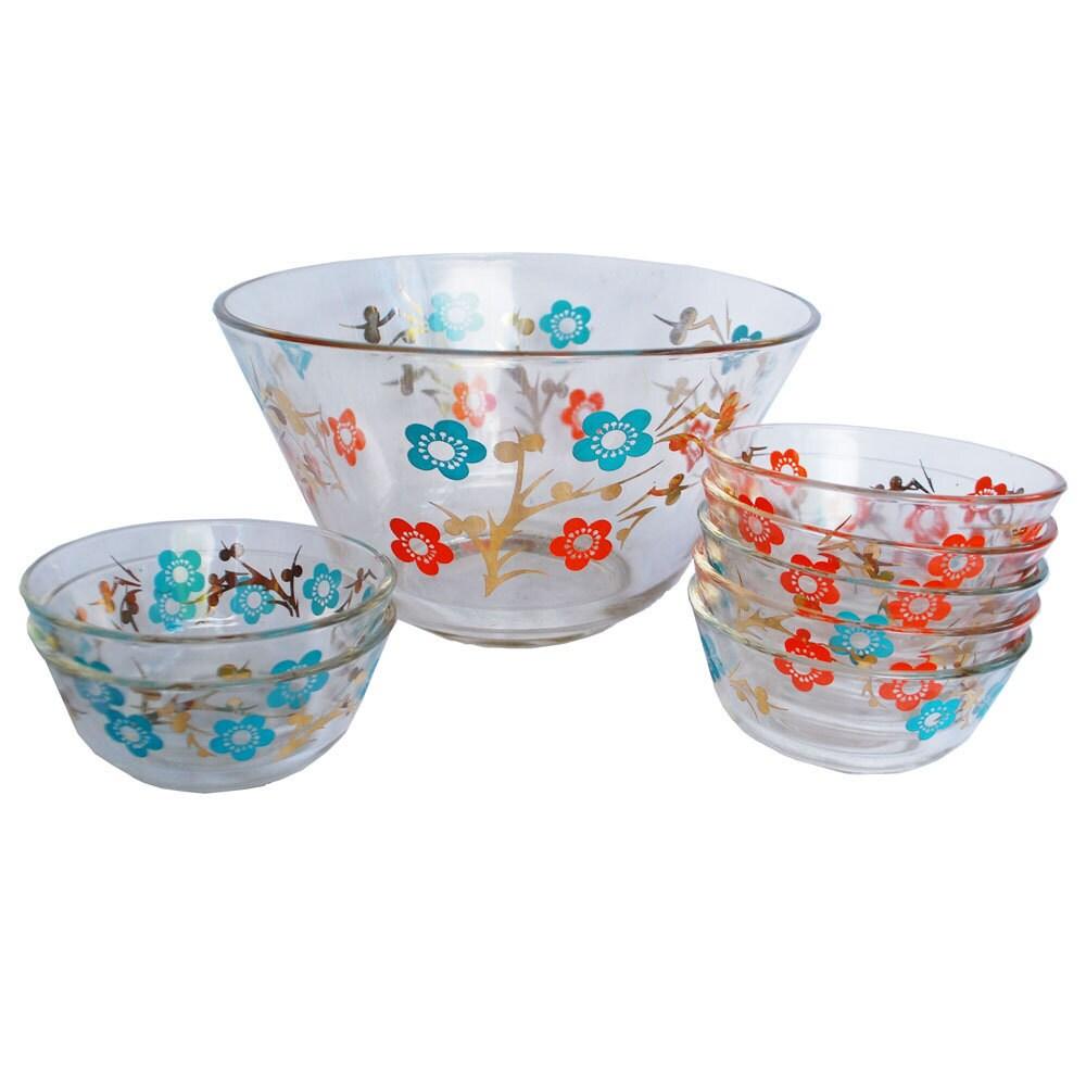 Mid century bowl glass bowls salad set