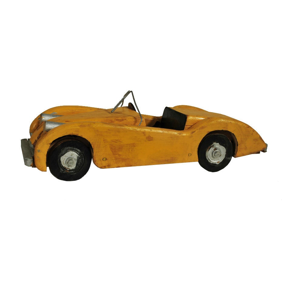 Wooden Toy Race Car / Handmade Roadster / Folk by midmoderngoods