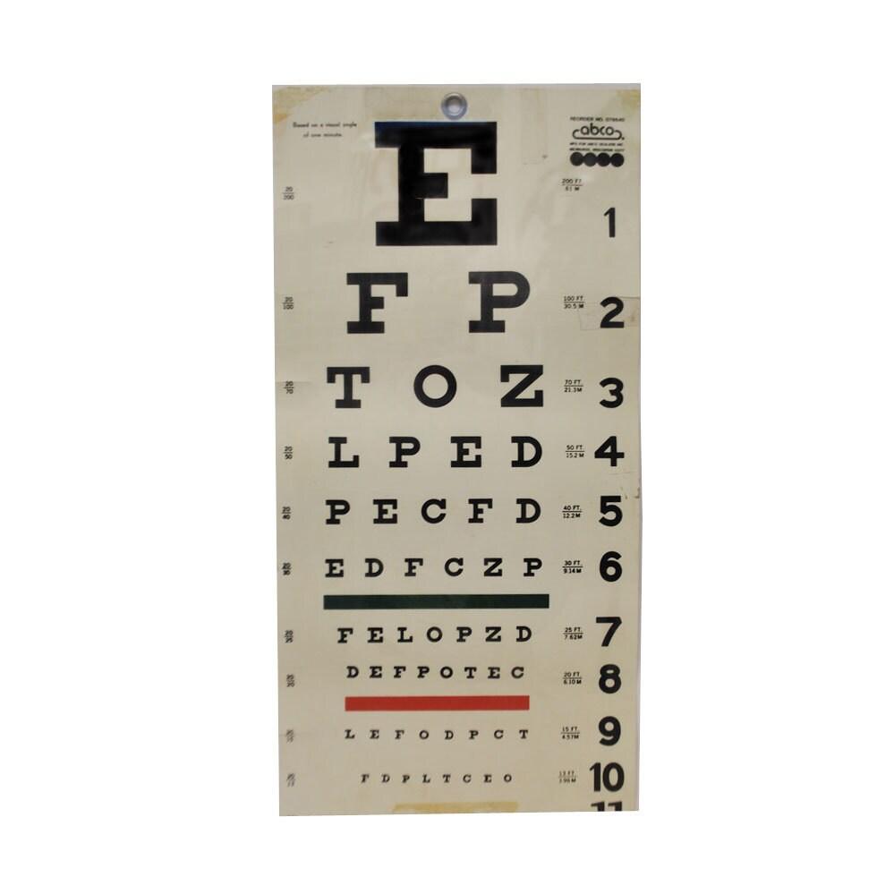 Tape Measure Test >> Vintage Eye Chart / VIsion Test / Optical Chart