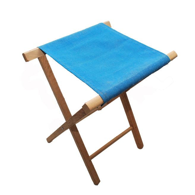 Retro Blue Canvas Folding Camp Stool