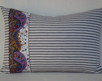 Black White Ticking with French Pierre Deux Border Lumbar Pillow 14x20 Cover