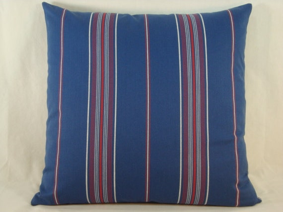 Decorative Accent Toss Pillow Red White & Blue Stripe  18X18 Pillow Cover