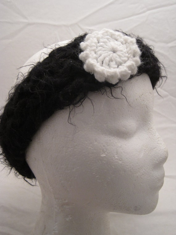 Black Fuzzy Headband/Ear Warmer with Sparkly White Flower