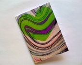 Note Card - Hearts Marbled Green