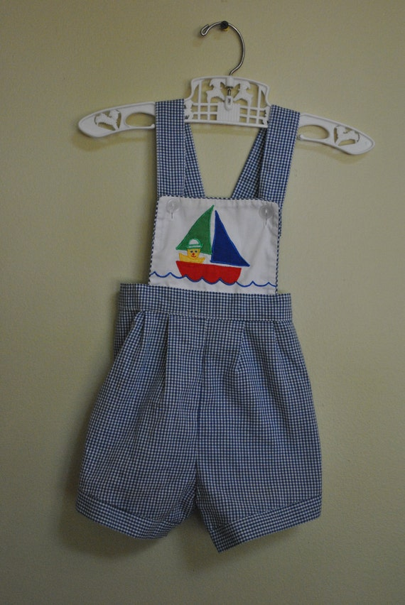 Vintage Blue White Checked Gingham Sailboat Overalls for Baby Boy size 6-9M