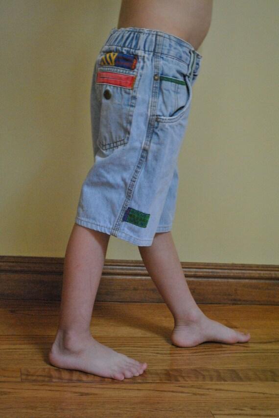 Vintage 80s Boys Light LEVIS Blue Sport Jean Shorts size 6 BIG E