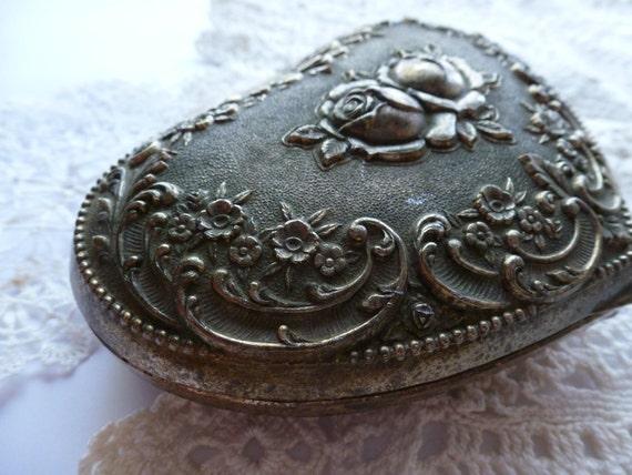 Antique Victorian Silver Heart Jewelry Casket