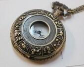 Zodiac pocket watch necklace