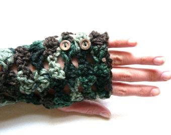 Wrist Warmers Fingerless Gloves Camouflage