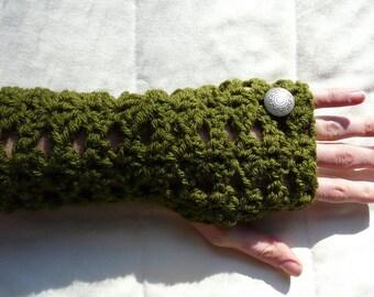 Wrist Warmers Fingerless Gloves Olive