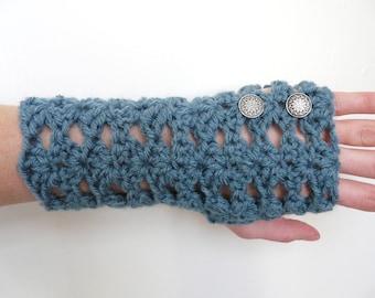 Wrist Warmers Fingerless Gloves Dusty Blue