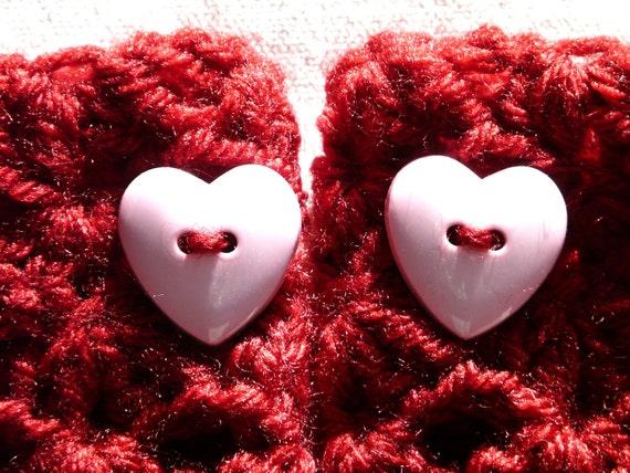 Wrist Warmers Fingerless Gloves Red Heart