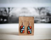 FREE SHIPPING,Native american inspired handmade beaded leather earrings,neon,tribal,geometric,black,orange,turquoise,white,blue,