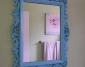 Mid Century Ornate Ocean Baby Blue Mirror