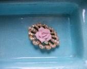 Vintage Art Deco Pink Rose Brooch Pin