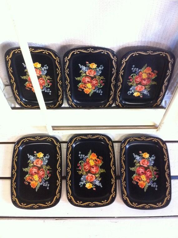Vintage Floral Metal Tray Set of 6