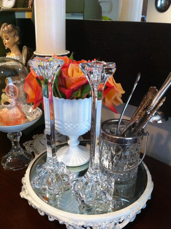 Pair of Tall Crystal Pressed Glass Candle Sticks - Shabby Chic - French Cottage - Paris Apt.