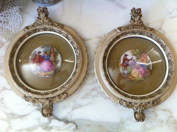 Reserved for Jen Vintage Ornate Gesso Plaster Convex Bubble Glass Frames with Victorian French Porcelain Paintings