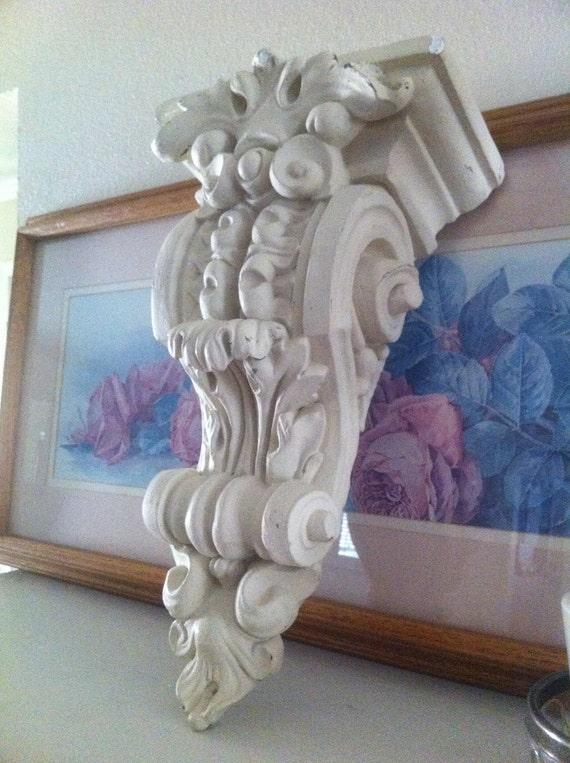 Fabulous Plaster Wall Sconce - Architectural Decor - Wall Hanging - Shabby Chic Cottage Living - French Decor
