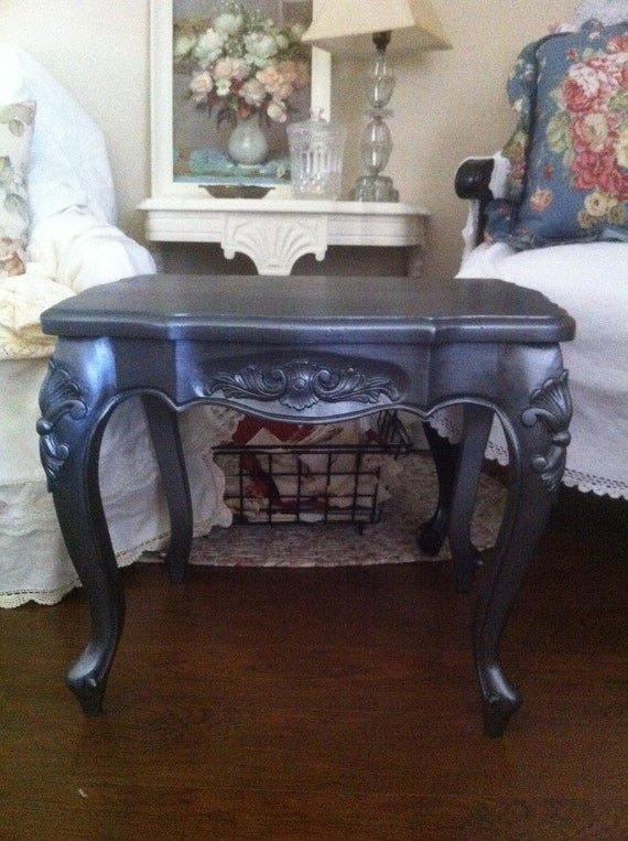 Free Shipping Vintage French Metallic Solid Wood Table with Ornate Legs - Paris Apt. Cottage chic shabby silver