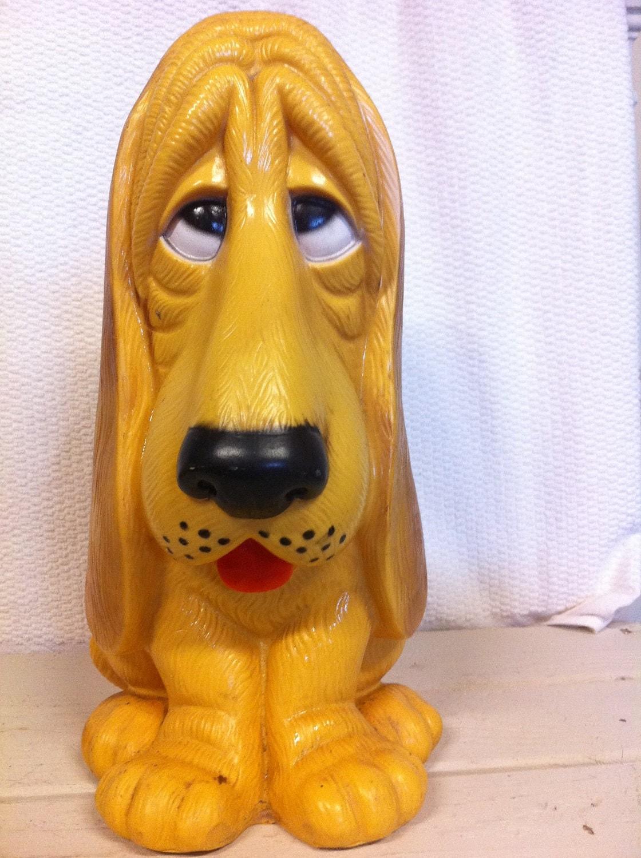 Vintage Large Plastic Basset Hound Piggy Bank With Sad Eyes
