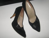 R E S E R V E D FOR MARIA 1950s Black Suede Stilletto Pumps 3 3/4 Inch Metal Heel size 6 1/2 M by Windslow Fashions