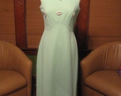 Vintage 1960s Cool Mint Green Poly Knit Gown with Pretty Rhinestone details
