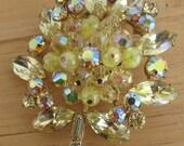 1950s Vintage Regency Jewels Brooch 50s Aurora Borealis and Amber Rhinestones with Crystal Beads