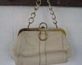 Roger Van S 1960s or 1970s Vintage Cream Color Pebbled Leather Hand Bag in a Gold Frame