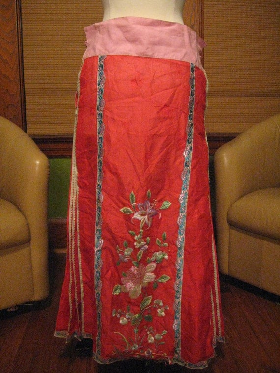1940s -1950s Vintage Silk Embroidered Chinese Skirt Red, Pink, Purple, Green and Blue