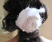 Bridal Feather Fascinator, Wedding Hair Piece, White Goose Feather with large Rhinestones and pearl - Isabella