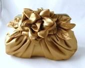 Gold clutch, bridal purse, wedding handbag - Gardenia pleated satin clutch