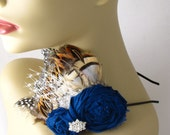 Navy blue rosettes and feather headband - Something blue Rosie