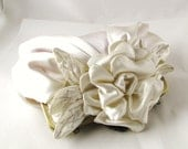 Ivory bridal satin flower clutch, wedding purse - Gardenia