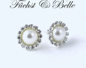 White pearl cliff on earrings, bridal pearl cliff-on earrings, Wedding earrings, Round rhinestones with pearl earrings