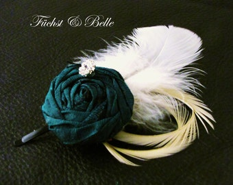 Silk rosette Fascinator - Emerald green bridesmaid's hair accessory with Ivory goose feathers and rhinstone