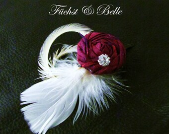 Fuschia bridal fascinator / Deep pink rosette with Feather Hair piece / Wedding head piece