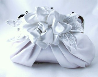 White bridal flower clutch, bridal purse, wedding clutch - Gardenia pleated satin clutch